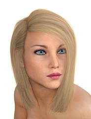 Junge Frau mit blonden Haaren, Freisteller
