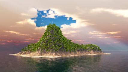 Tropische Insel im Meer und Wolkenlücke