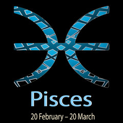 Pisces. Ornamental decorative vector Zodiac sign.  Astrological patterned Fishes zodiac symbol. Abstract modern background with dates, months, latin name text. 20 February – 20 March. Luxury design