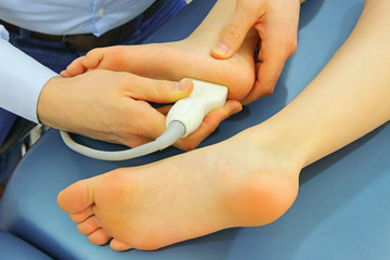 ultrasound of caucasian girl's foot - diagnosis