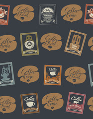 Vector seamless pattern with postage stamps and handwritten inscriptions on coffee and coffeehouse theme in retro style on black background. Can be used as wallpaper or wrapping paper