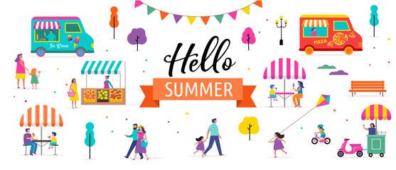 Summer fest, food street fair, family festival poster and banner design