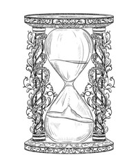 Vintage hourglass with floral ornament. Engraved style. Isolated object. Design template for print, poster, tattoo, t-shirt.  Black and white vector illustration