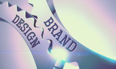 Brand Design - Mechanism of Shiny Metal Cogwheels. 3D.