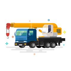 Truck crane. Flat design.