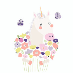 Hand drawn vector illustration of a cute funny unicorn holding a bouquet of flowers, with butterflies. Isolated objects. Scandinavian style flat design. Concept for children print.