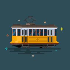 Vintage tram. Retro tram. Detailed tram. Side view tram.