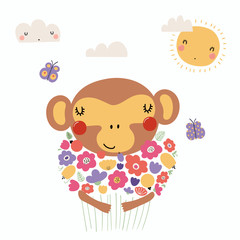 Hand drawn vector illustration of a cute funny monkey holding a bouquet of flowers, with butterflies, sun, clouds. Isolated objects. Scandinavian style flat design. Concept for children print.