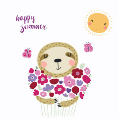 Hand drawn vector illustration of a cute funny sloth with a bouquet of flowers, butterflies, sun, lettering Happy summer. Isolated objects. Scandinavian style flat design. Concept for children print.