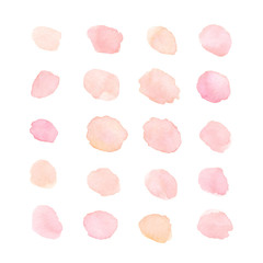 Hand painted soft pink and peach watercolor dots and blots isola