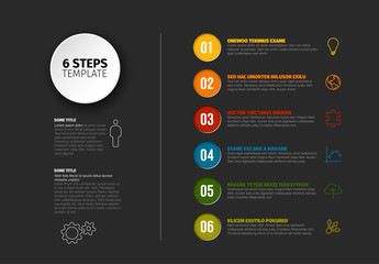 Vector progress six steps template