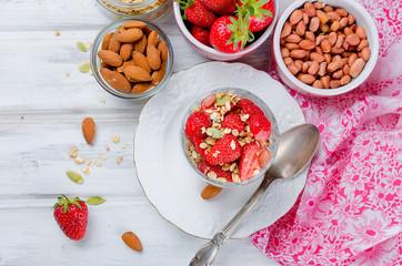 healthy breakfast Homemade  granola with fresh strawberries