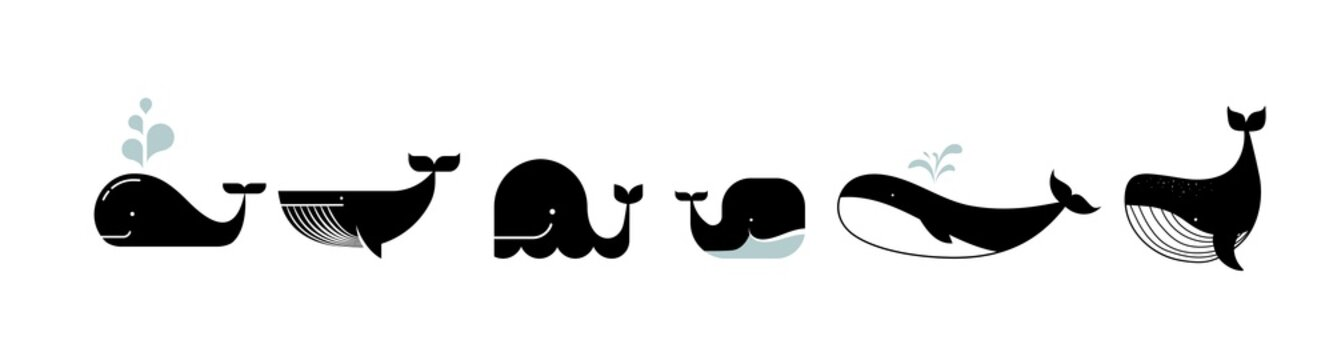 Sea life, whales, dolphins icons