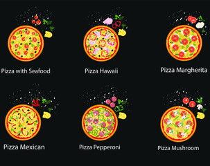 Set of pizza with different ingredients. Vector flat pizza on black background.