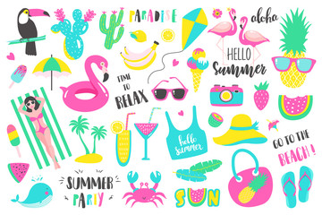 Summer set of design holiday elements