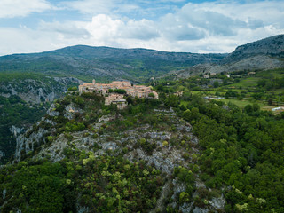 Aerial View of Walled City of Gourdon, France