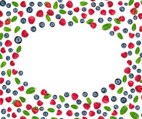 Various fresh berries isolated on white background, close up. Flying Strawberry, Mint, Raspberry and Blueberry. Food Frame