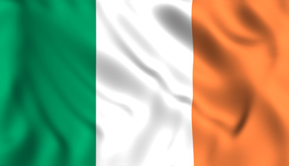 Flag ireland waving in the wind