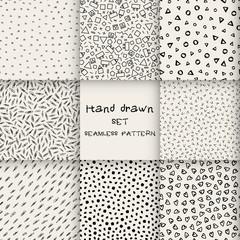 Seamless set hand drawn marker