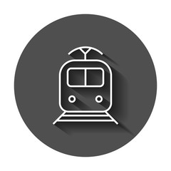 Train transportation icon. Vector illustration with long shadow. Business concept train pictogram.