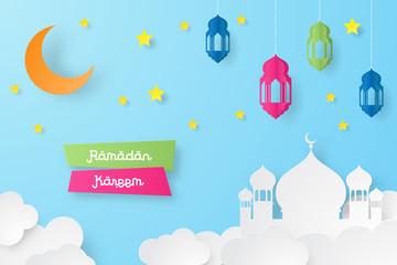 Ramadan kareem design background with lantern, moon, star, mosque paper art. vector illustration