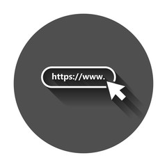Address and navigation bar icon. Vector illustration with long shadow. Business concept search www https pictogram.