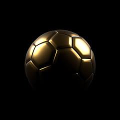 Golden soccer ball on a black background