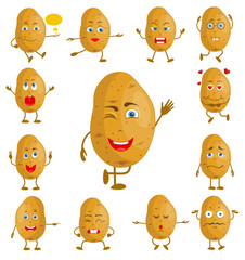 Character cartoon potato. Vector vegetable with face and hands with different facial expressions. Personage with a set of emotions.