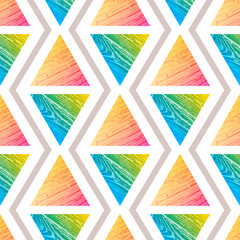 Abstract vector seamless textured pattern with triangle. Colorful graphic for wallpaper, print, gift.