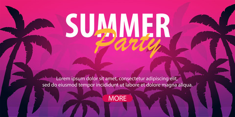 Summer Party backgrounds with palms. Summer placard poster flyer invitation card. Summer time. Vector Illustration