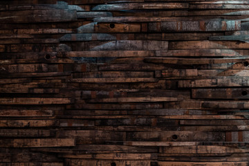 Fototapete - Bourbon Barrel Staves on Wall Texture