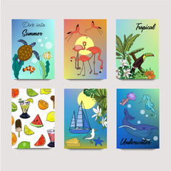 Summer vector drawn posters with tropical life, underwater, sea, ocean life and fruits in sketch style.