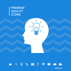 Man silhouette with Light bulb - new ideas. Icon