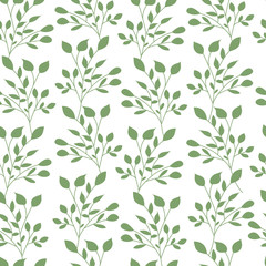 Green leaves seamless pattern flat vector template nature leaf wallpaper.