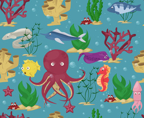 Sea animals seamless pattern background vector water plants ocean fish cartoon illustration undersea water marine aquatic character life.