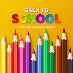 Back to school typography design with realistic colorful pencil. Paper cut style letters on yellow background. Vector illustration.