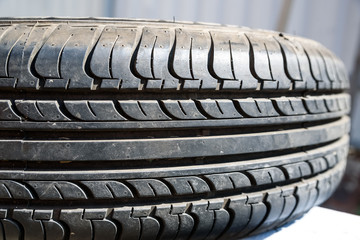 Close up used car tire texture