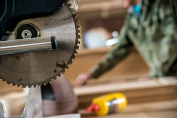Close up modern circular wood saw