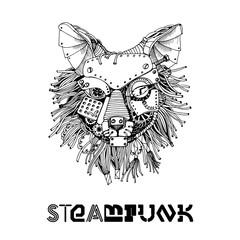 Fox steampunk. Watercolor vector illustration
