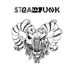 Ram steampunk. Watercolor vector illustration
