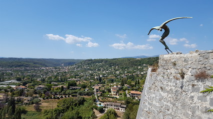 View of town and statue in Saint Paul de Vence