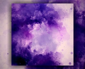 Violet watercolor art. Abstract background template for flyer, poster, banner, invitation, business cards and printed matter. Creative pattern for decoration design production. Artistic wallpaper.