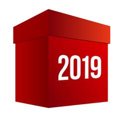 New year shopping. Big red box