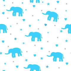 Seamless pattern with blue elephants, stars and hearts on the white background.