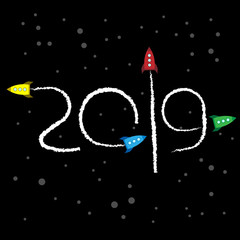 New Year 2019 concept - space