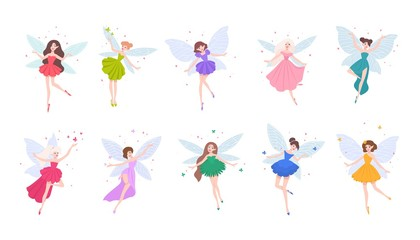 Collection of cute beautiful fairies in various dresses isolated on white background. Set of mythical or folkloric winged magical creatures, flying fairytale characters. Cartoon vector illustration.