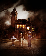 kids looking at a haunted house,3d illustration