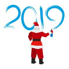 Santa Claus with sprayer writes '2019'