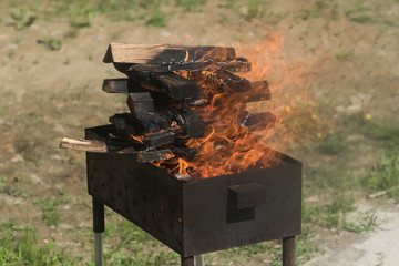 Closeup view of wooden logs prepared for making a barbecue. summer