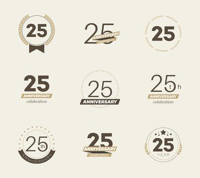 25 years anniversary logo set. Vector illustration.